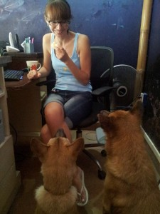 Natalia and the shop dogs