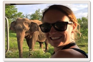 Scuba Diving Instructor, Hayley with elephants
