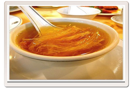 Shark fin soup, a delicacy, apparently!