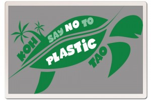 The emblem for the no-plastic movement on Koh Tao