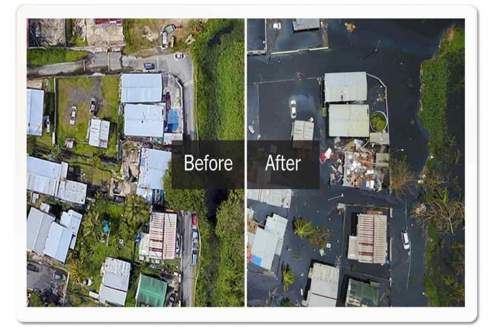 Before:After pictures of the damage from Hurricane Maria in Puerto Rico